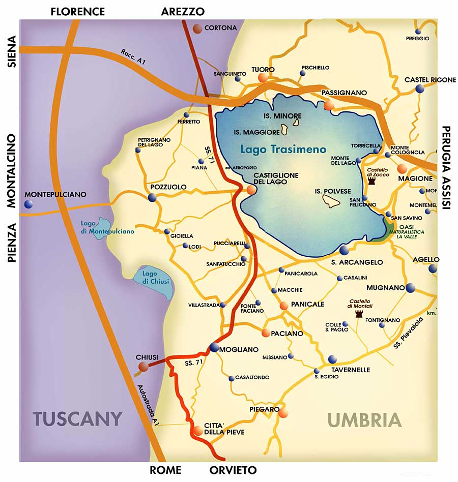 Tuscan and Umbrian map of area around Lake Trasimeno, in central Italy.