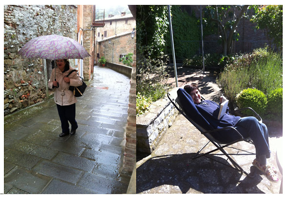 umbrian umbrellas, beach chairs, umbrian spring weather changeable in italy. roses
