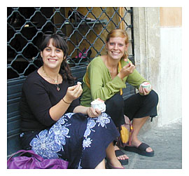 Girls enjoying Italian Gelato in Perugia on a fall day in Umbria