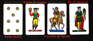 Typical Italian Playing cards used in Umbria and Tuscany