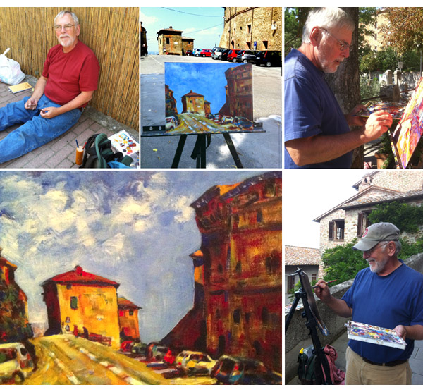 manabouttown Bruce Kidman painting up a storm in Panicale, Umbria, Italy