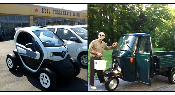 twizyape. renault twizy and piaggio ape, french vs italian mini vehicles